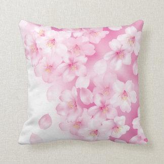 Sakura Cherry Blossoms Pink & White Flowers Throw Pillow