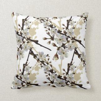 Sakura Cherry Blossoms White Brown Tan Neutral Throw Pillow