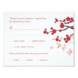 Sakura Double Happiness Chinese Wedding RSVP Card 11 Cm X 14 Cm Invitation Card