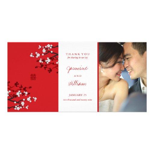 Sakura Double Happiness Chinese Wedding Thank You Personalized Photo Card