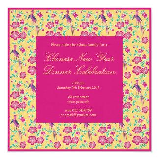 Sakura Floral Batik Chinese New Year Invitation