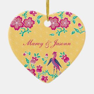 Sakura Floral Batik Wedding Heart Ornament