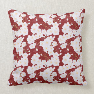 Sakura Flowers On Red Pillow