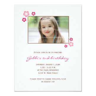 "Sakura Girl Birthday Party Invite 4.25"" X 5.5"" Invitation Card"