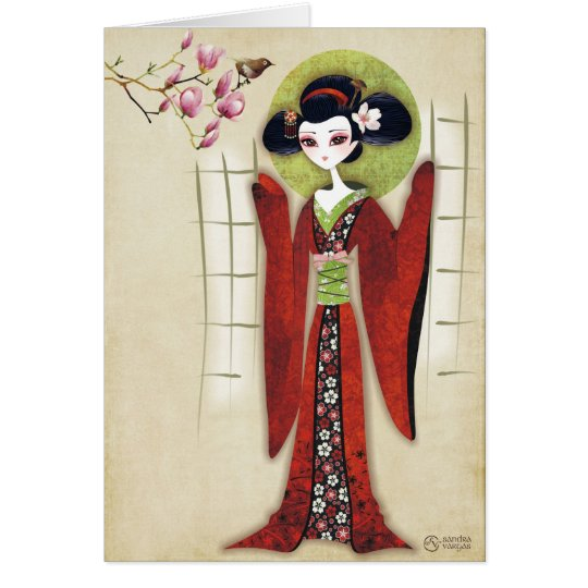 Sakura Girl Greeting Card