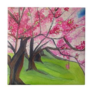 Sakura Japanese Cherry Blossom art Small Square Tile