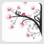Sakura Japanese Cherry Blossom & Cute Birds Square Stickers