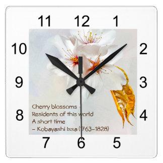 Sakura - Japanese cherry blossom Square Wall Clock