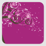Sakura Japanese Pink Cherry Blossom Square Sticker