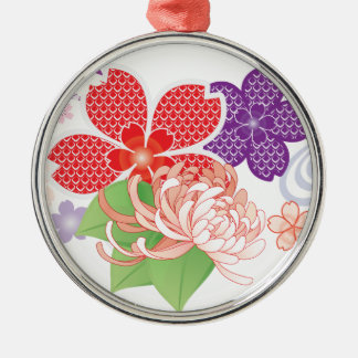 Sakura Kiomono - Japanese Design Silver-Colored Round Decoration
