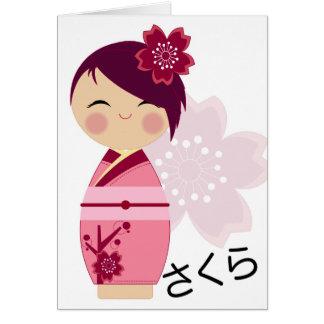 Sakura Kokeshi Card