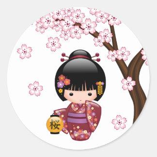 Sakura Kokeshi Doll - Cute Japanese Geisha Girl Round Sticker