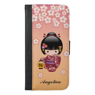 Sakura Kokeshi Doll - Geisha Girl on Peach iPhone 6/6s Plus Wallet Case