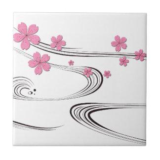 Sakura over river - Japanese Design Ceramic Tiles