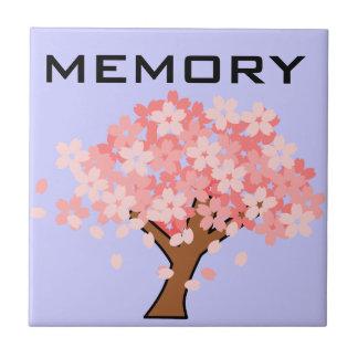 Sakura: Remembering loved ones memorial memory Small Square Tile
