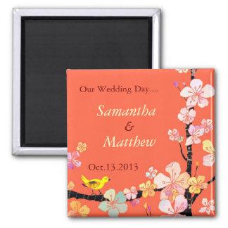 Sakura Save the Date Wedding Invitation Square Magnet