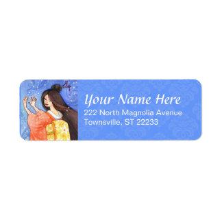 Sakura Shower Geisha Personalized Address Label