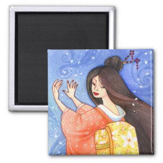 Sakura Shower Magnet, Geisha Kimono Art Square Magnet