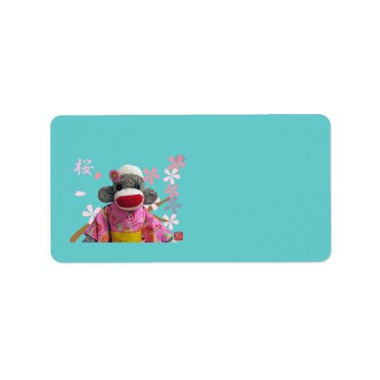 Sakura Sock Monkey Address Label