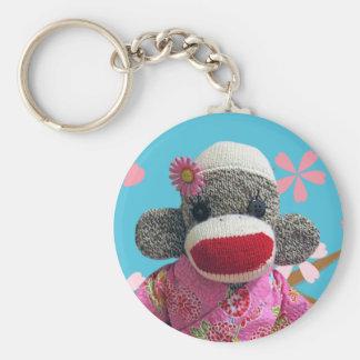 Sakura Sock Monkey Keychain