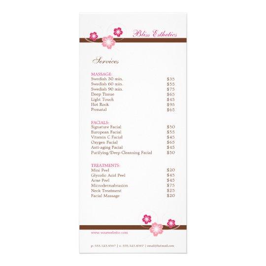 sakura spa menu template double sided zazzle co uk