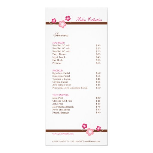Sakura Spa Menu Template - Double Sided Personalized Rack Card
