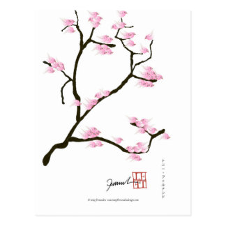 sakura tree and birds tony fernandes postcard