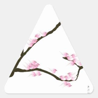 sakura tree and birds tony fernandes triangle sticker