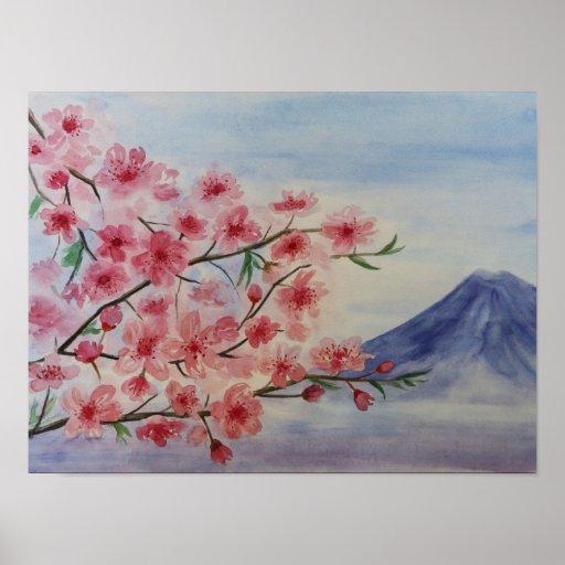 Sakura tree blossom and Fuji mountain Poster
