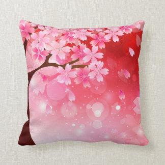 Sakura Tree Cherry Blossoms Pink Red  White Flower Throw Pillow