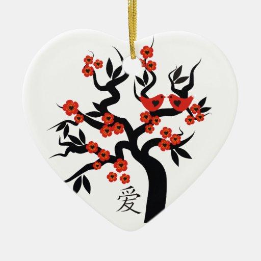 Sakura Tree Chinese Love Symbol custom ornament