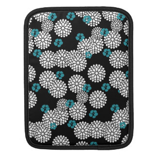 Sakura white black blue mums flowers iPad sleeves