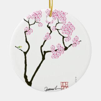 sakura with green bird, tony fernandes round ceramic decoration
