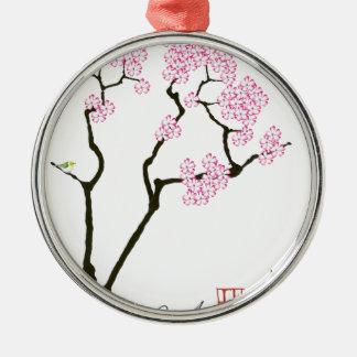 sakura with green bird, tony fernandes Silver-Colored round decoration