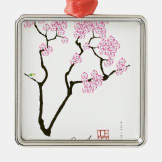 sakura with green bird, tony fernandes Silver-Colored square decoration