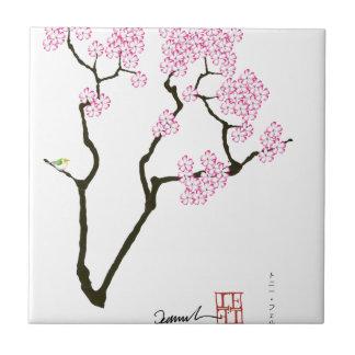 sakura with green bird, tony fernandes tile