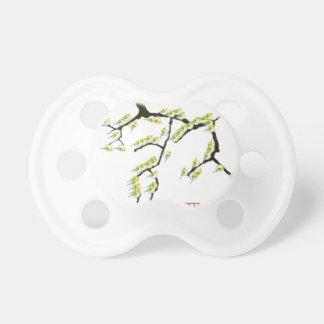 sakura with green birds, tony fernandes baby pacifiers