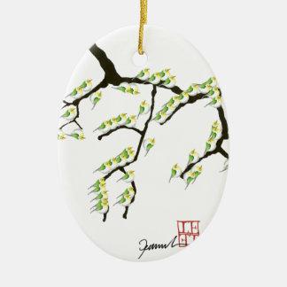 sakura with green birds, tony fernandes ceramic oval decoration