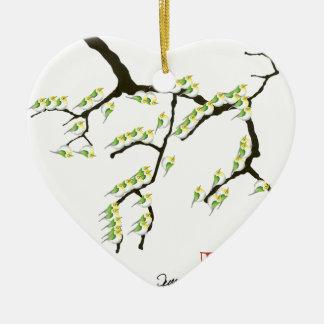 sakura with green birds, tony fernandes christmas ornament