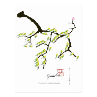 sakura with green birds, tony fernandes postcard