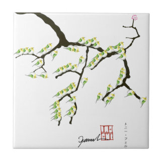 sakura with green birds, tony fernandes small square tile