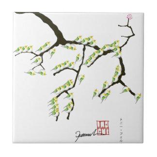 sakura with green birds, tony fernandes tile
