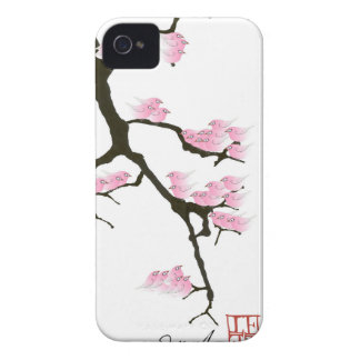 sakura with pink birds by tony fernandes Case-Mate iPhone 4 case
