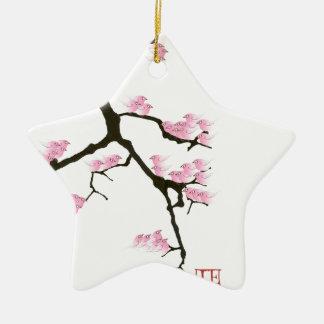 sakura with pink birds by tony fernandes ceramic star decoration