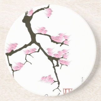 sakura with pink birds by tony fernandes coaster