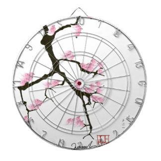 sakura with pink birds by tony fernandes dartboard