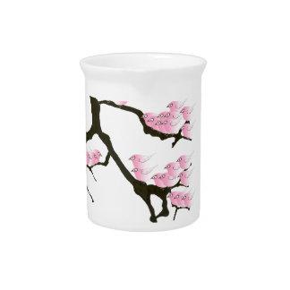 sakura with pink birds by tony fernandes pitcher