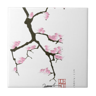 sakura with pink birds by tony fernandes small square tile