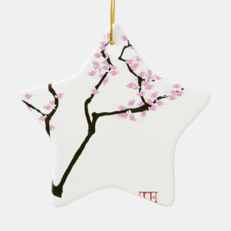 sakura with pink goldfish, tony fernandes ceramic star decoration