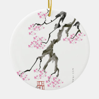 sakura with pink goldfish, tony fernandes round ceramic decoration